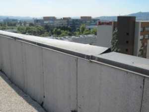 Damaged and bent coping metal