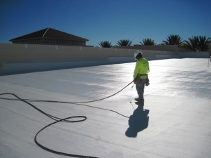 Fluid applied roof coating
